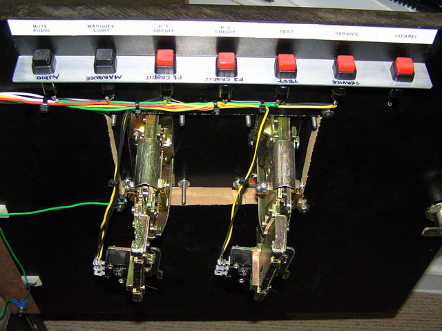 Lowboy arcade cabinet - Service buttons and coin mechs