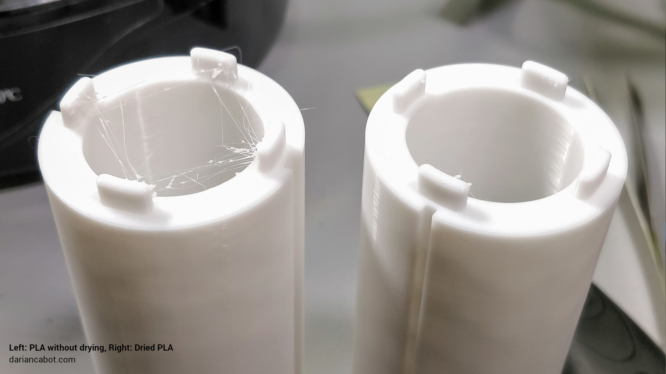 Comparison showing dried PLA prints with much less stringing